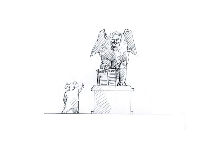 翼狮形角杯手绘